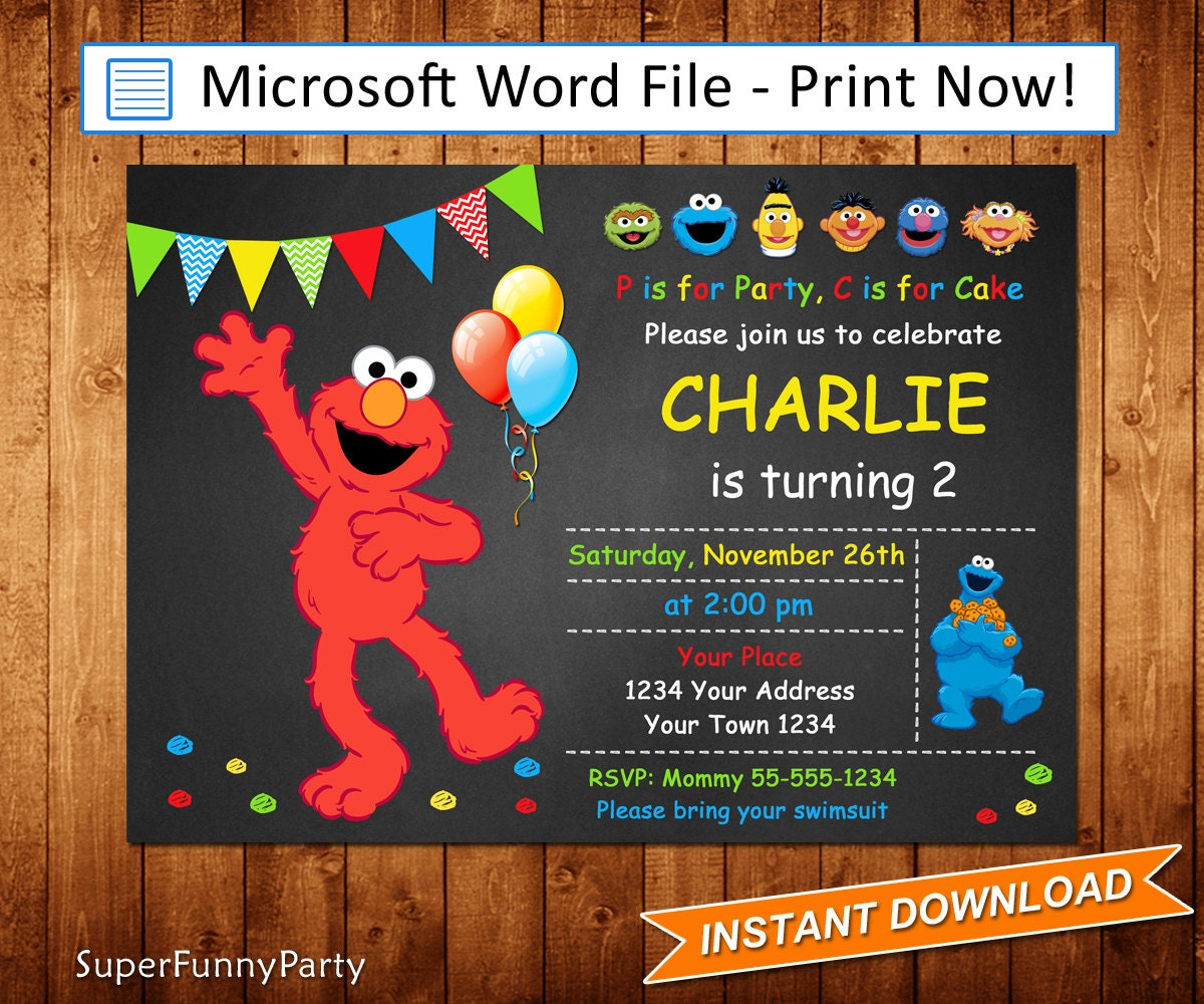 Elmo Invitation Sesame Street Invitation Editable Microsoft