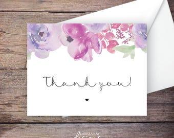 Floral Thank You Card, Digital File, Instant Download Greeting Card, Wedding Card Instant Download – SADIE