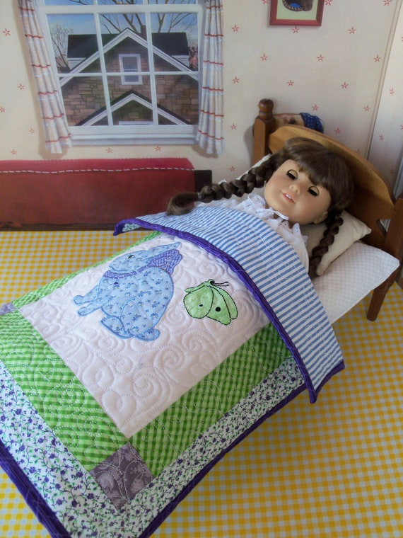 "Applique and Embroidered Keepsake Heirloom Quilt for 18"" American Girl Doll / 18 Inch Doll Clothes and Bedding"