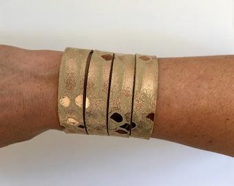 Rose gold leather wrap cuff wide leather cuff leather bracelet rose gold leather bracelet snakeskin leather cuff