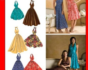 OUT of PRINT Simplicity Pattern 3823 Misses' Misses Halter Dresses with Skirt and Length Variations