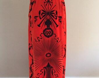 Late 1960s-Early 1970s Vintage Deep Orange/Black Velveteen Maxi Skirt/Mr. Dino