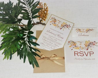 Autumn Floral Wedding Invitation Collection