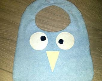 Baby bib Monster blue cotton and sponge head