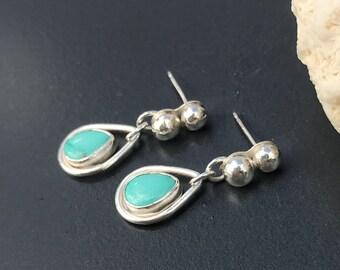 Contemporary Turquoise Earrings Artisan Made Sterling Silver Dangles, Light Blue Rain Drop Minimalist Small Boho Chic Teardrop Stud Post