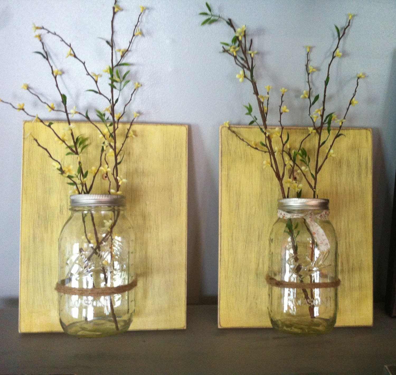 Mason jar wall decor hanging mason jar wall vase rustic