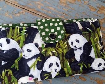 Panda Checkbook Cover, Coupon Wallet, Panda Fabric Checkbook, Panda Wallet, Panda Check Case, Panda Gift
