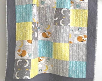 Modern Baby Boy Quilt Featuring Foxes Owls Moon  Stars Grey Yellow Aqua White