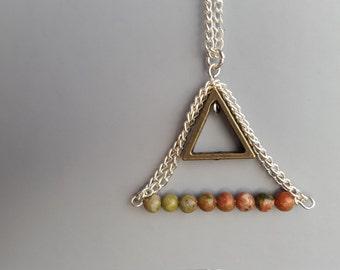 Ombre Unakite Triangle Necklace