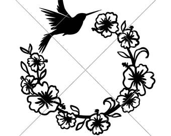 Hummingbird Monogram Wreath humming bird SVG dxf Files for Cutting Machines like Silhouette Cameo and Cricut, Commercial Use Digital Design