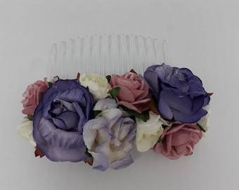 Purple Bouquet Hair Comb