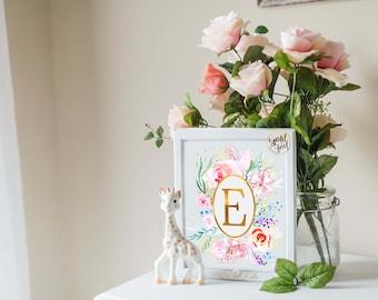 Flower Monogram Print, Initial Print, Baby room Décor, Gold Foil Monogram,Nursery Decor, Baby Monogram Gift, Nursery Wall Decor