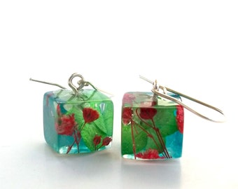 Resin Earrings - Red, Blue and Green Hydrangea and Baby's Breath. Floral Earrings. Pressed Flower Earrings.  Real Flowers