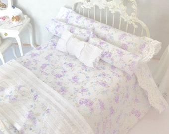 Shabby Cottage Chic Dollhouse/Lavender Dollhouse Bedding Set/1:12 Scale Dollhouse Beds/Miniature Bedding/Dollhouse Bed Linens/ /Miniatures