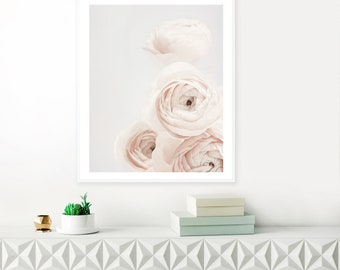 Minimalist Ranunculus Print, Pale Blush and Grey Wall Art, Scandinavian Flower Print, Ranunculus Photography, Botanical Above Bed Art