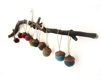 Felted Acorn Ornaments - set of 10 in colors