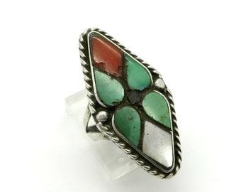 Zuni Turquoise Ring | Vintage Sterling Silver | Turquoise Coral MOP | Native American Diamond Shape Ring | Size 6