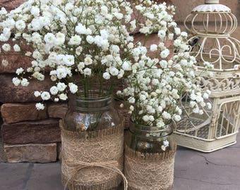 Mason Jar Wrap, Champagne Lace & Burlap, Mason Jar Decoration, Baby Shower, Party,  Wedding Decoration