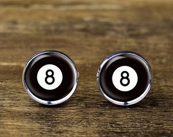 8 Ball cufflinks, Billiards cufflinks, Pool Ball accessories