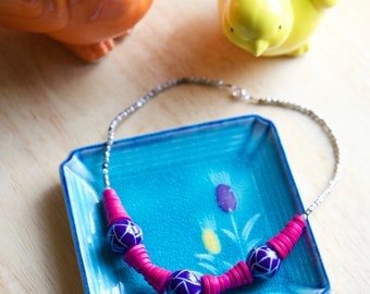 Fuchsia & Blue Statement Necklace, Handmade Beaded Jewelry, Bright Colored Handmade Jewelry Gift for Woman