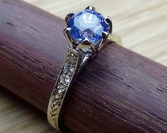 Cornflower Blue Sapphire Engagement Ring, Solitaire Light Blue Sapphire with Diamonds Engagement Ring 18k White Gold