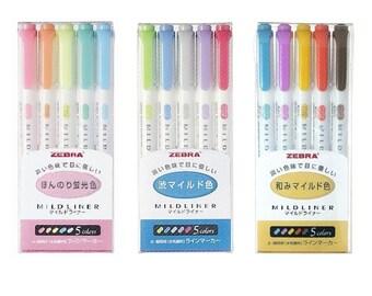 Zebra Mildliner Highlighter Marker Dual Tip Soft Assorted Color Pastel Pen, Midliner pen, Color Bullet Journal, Pastel pen