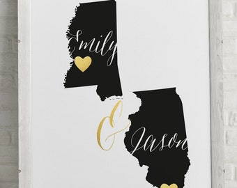 Gold and black Wedding Map Guest book - destination wedding - two states -  Printable file - unique alternative guest book