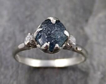 Raw Montana Sapphire Diamond White Gold Engagement Ring Wedding Ring Custom One Of a Kind Gemstone Multi stone Ring 1158