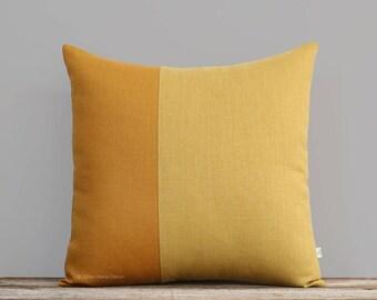 Yellow Linen Pillow Cover, Two Tone Colorblock Pillow, Modern Home Decor by JillianReneDecor - Minimal, Scandinavian Inspired