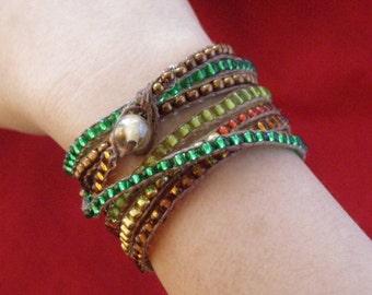 Bracelet, Wrap Bracelet, Beaded, Banded COPPER RIVER (512)