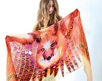 Fox Scarf - Bohemian Clothing - Festival Clothing - Fox Costume - Fox Print - Wing Scarf - Sarong - Shawl - Holiday Clothes