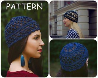 Crochet Graph Pattern Bullion Stitches Hat PDF - Summer Crochet Pattern by ItWasYarn - Retro Crochet Patterns Beanie Hat - Lace Hat Pattern