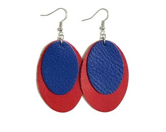 Large Leather Oval Layered Earrings; Royal Blue and Red Leather; Lightweight; Statement Earrings