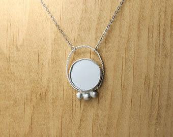 Full Moon Goddess Mirror Necklace. gift idea for wiccan or witch, Scrying fortune teller jewelry, pagan occult costume idea