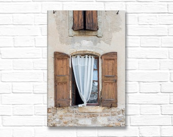 South of France Photo on Canvas - Windows Shutters and Curtains, Gallery Wrapped Canvas, Architectural Urban Home Decor, Large Wall Art