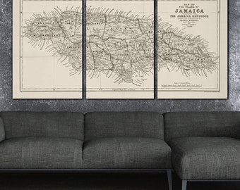 Choose Your Country - Vintage  Map on Canvas - Jamaica Shown, Huge 3 panel gallery wrap, Vintage map, large wall art, world map canvas