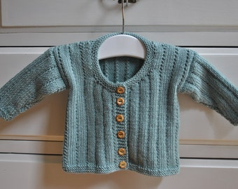 Hand knitted baby cardigan with cashmere in duck egg size 0 - 3 mths