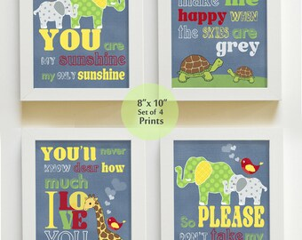 You are My Sunshine Art Prints for Nursery or Kids Room,  Elephants Baby Nursery Decor, Set of 4 PRINTS