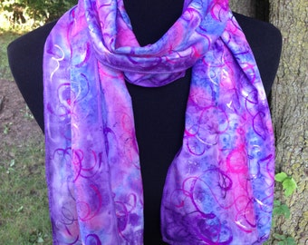 Purple Silk Scarf / Hand Painted with Metallic Swirls /  Purple Pink and Blue / Long Scarf / Women's Scarf / Ladies Scarf / Gift for Her