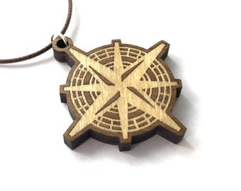 Wooden pendants earemporium compass rose wooden inlay pendant poplar on walnut necklace sustainable wood jewelry aloadofball Image collections