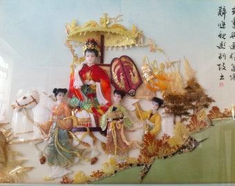 Handcrafted Mother of pearl chinese diorama shadow box signed Free shipping