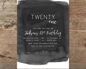 21st birthday invitation male invitation typographic twenty first birthday invitation black and white invitation watercolour ink wash invitation 21st male 21st invitation printable filmwisefo