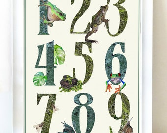 Frogs Number Print - Number Poster for Nursery, Animal Nursery Print, Nature Numbers Wall Art, Educational Numbers Print, Boys Nursery Print