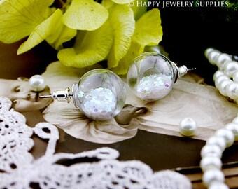 1.6 Per Set - 4 sets 16mm Small Clear Glass Globe Bottle Earring (GB1602)  - Big Sale