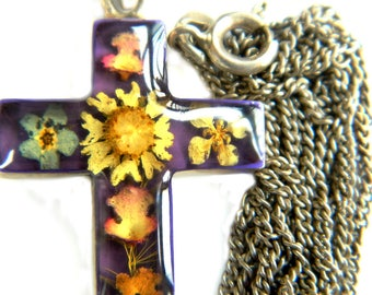 Taxco Mexico Pressed Dried Flower Cross Necklace Sterling Silver 1970s Vintage Jewelry Signed T5-134 Religious Flower Power Gift For Her