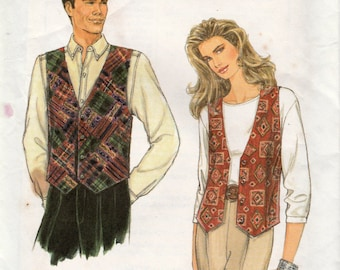 Simplicity 9285 Sewing Pattern, Easy Misses', Men's or Teens' Vest, Button Front Opt., Multi-Size XS, S, M, Used Vintage Pattern