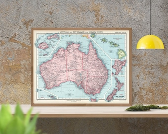 Antique map of Australia, Hawaii, New Zealand and Fiji, 1925, old map, fine art print,vintage decor, fine reproduction