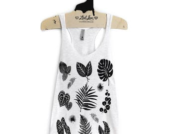 Small- Heather White Tri-Blend Racerback Tank with Plant Print Screen Print