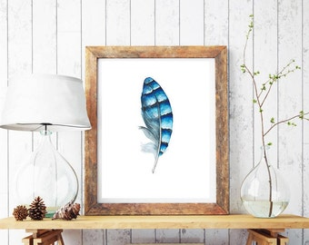 Feather Wall Art,Feather Art Print,Feather Painting,Feather Wall Decor,Bohemian Wall Print,Blue Feather Art,Blue Jay Feather,Feather Print