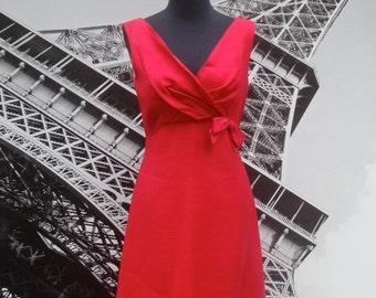 SALE 50s 60s Pink Valentines Dress Audrey Hepburn 1950s 1960s Wedding Party Bridesmaid Betty Draper Mad Men Bow Spring Raspberry Hot Pink
